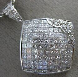 1.82ct Round And Princess Diamond 18kt White Gold Invisible Square Flower Pendant