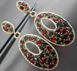 Estate Large 10.44ctw Diamond And Gemstone 14kt Rose Gold 3d Oval Hanging Earrings