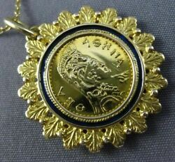 Estate Blue Enamel 22kt And 14kt Yellow Gold Handcrafted Flower Roman Coin Pendant