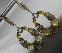 Antique 14.78ct Diamond And Multi Gem 18kt Black Gold Pear Shape Hanging Earrings