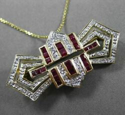 Estate 1.60ct Diamond And Aaa Ruby 14kt White And Yellow Gold 3d Bow Pin And Pendant