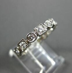 Antique .80ct Diamond 14kt White Gold Round Square Eternity Ring 3mm 16334