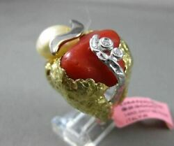 Antique Diamond Aaa Pearl And Coral 14kt Two Tone Gold Handcrafted Etoile Fun Ring