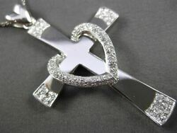 Estate Large .76ct Diamond 14kt White Gold 3d Heart Cross Pendant And Chain 24141