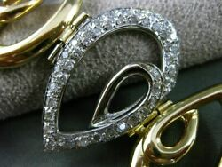 Estate Large And Wide 1.10ct Diamond 18kt Two Tone Gold Pear Shape Toggle Bracelet