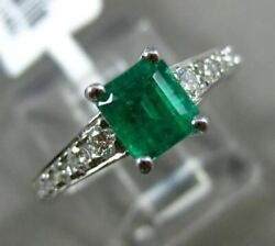 Estate 1.11ct Diamond And Aaa Emerald 18kt White Gold 3d Square Engagement Ring