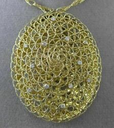 Estate Extra Large And Long .30ct Diamond 14kt Yellow Gold Filigree Woven Necklace