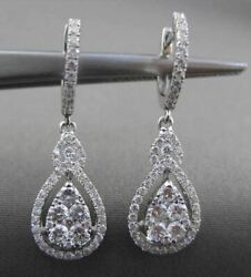 Estate Large 1.13ct Diamond 18kt White Gold 3d Pear Cluster Hanging Earrings