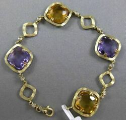 Estate Wide 20.9ct Diamond And Amethyst And Citrine 14kt Gold By The Yard Bracelet