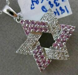 Estate .76ct Diamond And Aaa Pink Sapphire 18k White Gold 3d Star Of David Pendant