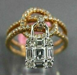 Estate Wide .94ct Diamond 18kt White And Rose Gold 3d Love Knot Lock Floating Ring