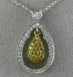 Estate .84ct White And Fancy Yellow Diamond 18kt 2 Tone Gold 3d Tear Drop Necklace