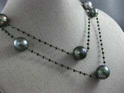 Estate Large And Long Aaa Tahitian Pearl And Black Quartz 14kt Black Gold Necklace