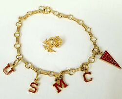 Lot Of 2 Usmc Marines Corps Related Costume Jewelry One Bracelet One Pin