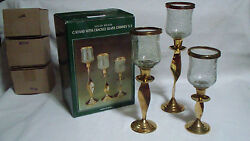 Set of 3 Solid Brass Twist Candle Stands Holders w Crackle Glass Chimneys in Box