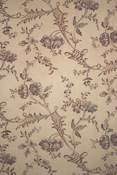 Floral Fabric Antique French C1850 18th Century Design Stunning Aged 64x93 Inch