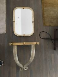 Murano Glass Wall Mounted Console Table And Matching Mirror Art Deco Mod Vintage