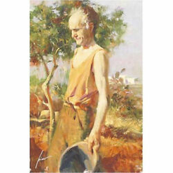 Pino Giclee Canvas S/ Afternoon Chores Old Man Picking Fruit Vegetables 30x20