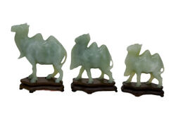 Three Chinese Carved Celedon Jade Camels Sculpture Figures