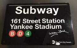 Whitey Ford Signed Subway Sign Yankees Jsa Autograph Tin Rookie Hof Nice Stuff