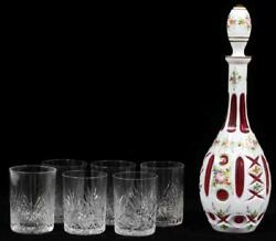 A Rare Heavy 19th Century Cranberry Overlay Glass Decanter And Tumblers