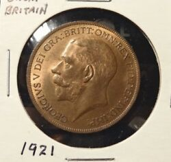 1921 Great Britain One Penny Uk World Coin