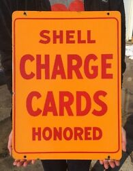 Vintage Porcelain Shell Charge Card Credit Honored Sign Double Sided Gas Pump