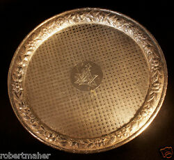 Dominick And Haff Sterling Silver Repousse Footed Tray Ca. 1875 529.7 Grams