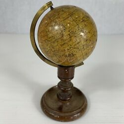 Antique Pocket Miniature Terrestrial Globe Smith And Son London 2.6 Outline Earth