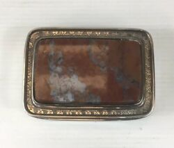 Fine Antique Georgian Solid Silver Tested Mounted Agate Table Snuff Box 126g