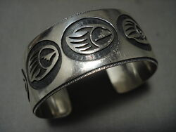 Quality Vintage Hopi 'micro Chisel' Thick Silver Bracelet Old Jewelry