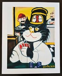 Ferdie Pacheco Trolley Kat Playing Cards Ybor City Signed Lithograph 21 X 17