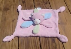 Pickles Bear Plush Baby Security Blanket Lovey Pastel Pink Green And Blue