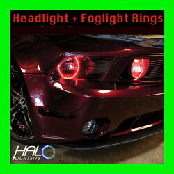 2005-2009 Ford Mustang Red Led Headlight+fog Halo Kit 4 Rings By Oracle