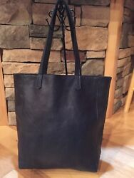 Authentic Anthropologie Day And Mood Leather Heather Black Tote Bag Purse Shoulder