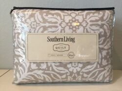 Southern Living Silver Lining Sundial 3 Pc Full / Queen Quilt Pillow Shams Set