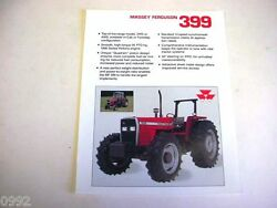 Massey Ferguson 399 2wd And 4wd Farm Tractor Spec Sheet 1989 2 Page Very Good
