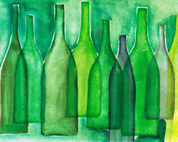 Colored Green Bottles