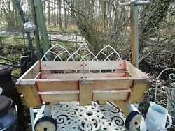 Vintage 1960's Toy Wooden Pull Along Cart Wedding Toys Dog Flowers
