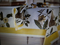 NEW Williams Sonoma EASTER BOTANICAL BUNNY LARGE Tablecloth 70