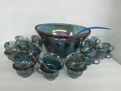 Indiana Harvest Grape Style Carnival Glass Set Of Punch Bowl And 22 Cups 796b