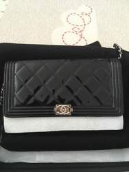 AUTHENTIC CHANEL NEW PATENT WOC BLACK boy wallet on chain $3200.00
