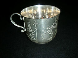 And Co. Sterling Silver Cup W/ Etchings Characters,wild Life,botanicals