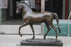 China Royal Pure Bronze And Marble Lucky Zodiac Huge Horse Art Sculpture