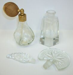 Lot Of Vintage Perfume Bottles Atomizer And Crystal Glass Stoppers Fan And Leaf