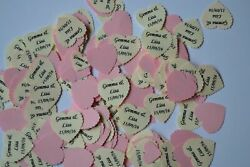 PINK personalised TABLE CONFETTI with NAMES DATE message for any occasion
