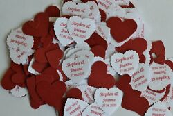 BURGUNDY personalised TABLE CONFETTI with NAMES DATE message for any occasion