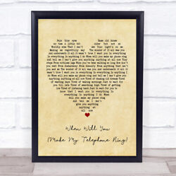 When Will You Make My Telephone Ring Vintage Heart Quote Song Lyric Print