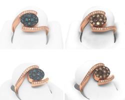 14k Rose Gold Oval Cut Fancy Reversible Brown And Blue Diamond Ring For Women Gift