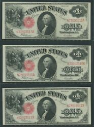 Fr39 3 Consecutive Gem Cu Notes 1 1917 Legal Tender Wlm8011